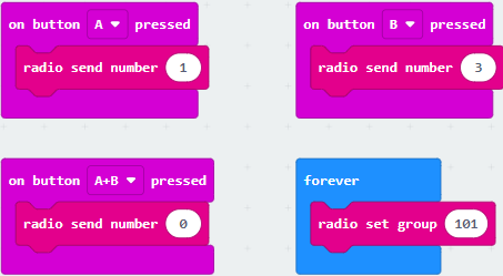 Code for the left micro:bit