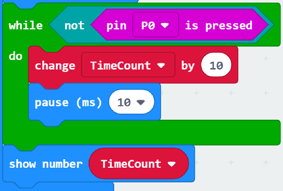 A while loop counting time until PIN 0 is pressed