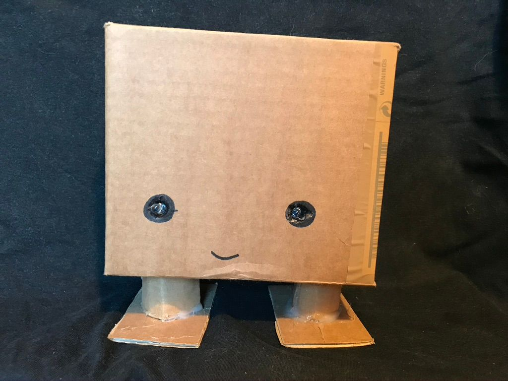 Cardboard card-guessing robot